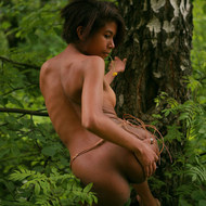 Naked ebony teen in the woods-13