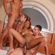 Hardcore group sex in the bathroom-11
