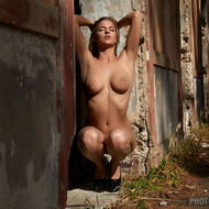 Busty Heather Stripping Outdoors-09