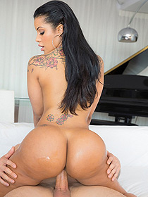 Hot Curvy Latina Rides On A Cock
