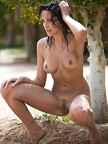 Busty Raven Black Haired Babe Is Naked Outdoor