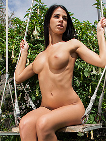 Busty Sophie Swinging Outdoor