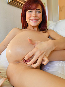 Lovely Naked Redhead Chick Playing With Her Pussy